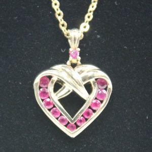 Jewelry - Danbury Mint Birthstone Heart Necklace-July (Ruby)